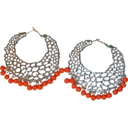 SALE Wow  Huge Bold 1980's Dangle Pierced Hoop Earrings with Coral Colored Dangling Beads.