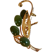 SALE Lovely 3-D Brooch with Serpentine Cabochons and Filigreed Leaf Design