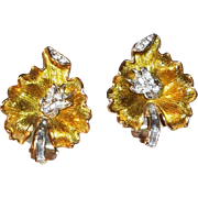 SALE Elegant 3-D Leaf Shaped Clip On Earrings with Rhinestones