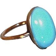 SALE Dainty Vintage Ring with Blue Glass Domed Cabochon and 10 Karat Gold Band, Size 4