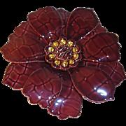 SALE Large Vintage Enamel and Rhinestone Flower Brooch in Cordovan Brown with Mock-Croc Textur