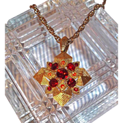 SALE Vintage Goldtone 3-D Maltese Cross Pendant Necklace with Red Rhinestones