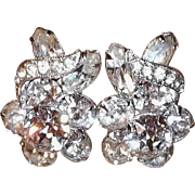 Vintage Eisenberg Clear Rhinestone Flower Clip Earrings