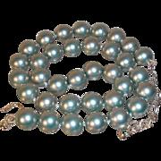 Vintage Carolee Elegant Rich Blue Glass Imitation Pearl Necklace