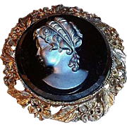 SALE Charming Romantic Vintage Black Glass Cameo or Silhouette Brooch
