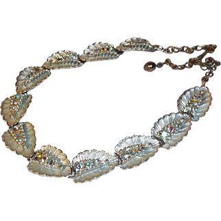 SALE Aurora Borealis Crystal Rhinestones 3-D Leaf Shaped Choker Necklace circa 1950s