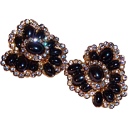 Vintage Joan Rivers Clip Earrings with Black Metallic Cabochons and Clear Crystal Rhinestones