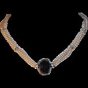 SALE Classic Elegance Carolee Imitation Pearl Choker w Rhinestones & Black Glass Focal Bead