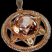 Vintage 14 Karat Gold Star of David  Brilliant Champagne Faceted Glass Pendant