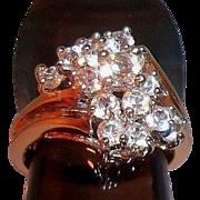 SALE Vintage Elegant Clear Faceted Glass Stones Cluster Ring, Size 7.5