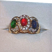 SOLD Vintage Red, Green Blue Glass Cabs & Rhinestones Ring  by Espo, Size 9