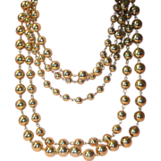 SALE Elegant Five Strand Goldtone Metal Beaded Drippy Layered Necklace