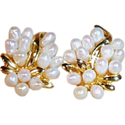 SALE Vintage Genuine Freshwater Pearl Pierced Cluster Earrings