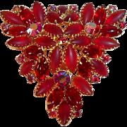 SALE Stunning Large Red Vintage Brooch  Satin Glass &  Aurora Borealis Crystal Rhinestones