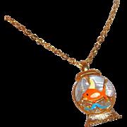 SALE Vintage Goldfish Bowl Pendant by Gold Crown, Inc.