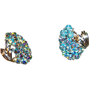 Vintage Coro Aurora Borealis Blue Rhinestone Clip Earrings, 1940s to 1950s
