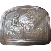 antique Mother of Pearl hand carved scene Coin Purse change purse Lady and Dog