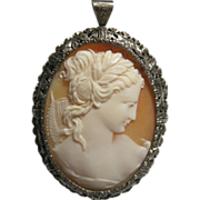 Exceptional Silver Goddess Muse Shell Cameo brooch pendant