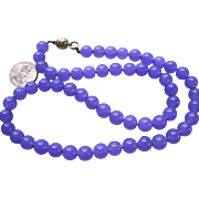 pretty retro Lavender Jade Bead Necklace
