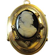 Antique Victorian 14k Hardstone Cameo Locket pendant