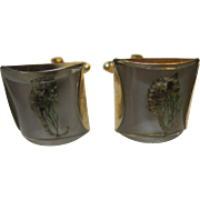 retro vintage Seahorse Lucite Cuff links cufflinks Novelty Seahorses in Lucite