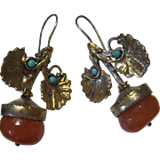 large early Chinese Export Asian Gilt Silver turquoise Jade Carnelian drop Earrings