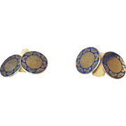 Art Nouveau 10k Blue Enamel Cufflinks Cuff Links