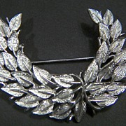 SALE Vintage signed Pegasus Coro Silver Tone Leaf Pin Brooch