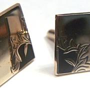 Vintage signed Swank gold toned Cuff Links ~ Black Matte Enamel & Leaves