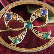 Vintage Victorian Open Work Gold Tone Rhinestone Bow Pin Brooch
