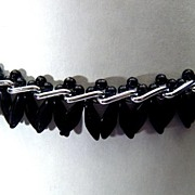 Vintage Unusual West German Black Glass Bead & Silver Tone Necklace