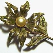 Vintage Large Green Damascene Flower Pin Brooch ~ signed SPAIN ~ Faux Pearl Center