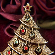 Vintage Textured Christmas Tree with Hanging Rhinestone Ornaments Pin Brooch