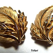 SALE Vintage signed Trifari Golden-Toned Leaf Clip Earrings