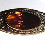 SALE Vintage Huge Faceted Oval Amber Glass Stone Pin Brooch