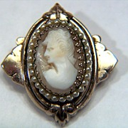 Vintage signed Coro Shell Cameo Pin Brooch
