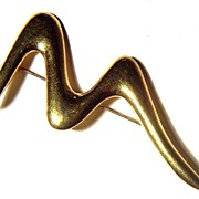SALE Vintage signed Trifari Gold-toned Squiggle Pin Brooch