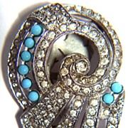 SALE Vintage Rhinestone and Blue Glass Dress Clip