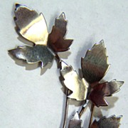 SALE Vintage signed Sterling 1950s Maple Leaf Pin Brooch
