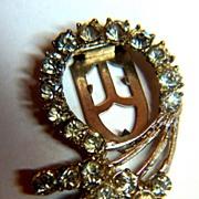 SALE Vintage Rhinestone Circle & Swirls Dress Clip