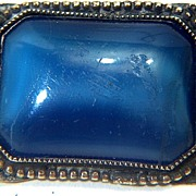SALE Victorian Blue Glass and Brass Brooch Pin