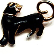 SALE Vintage Staffordshire Bull Terrier Black Enamel Pin Brooch