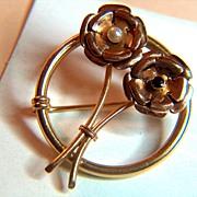 14K Yellow and Rose Gold Pearl Garnet Pin Brooch  ca 1910