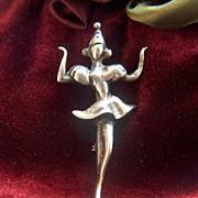 Vintage signed STERLING Dancer Pin Brooch