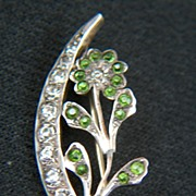 Vintage Victorian Sterling Silver  Green Rhinestone Flower Brooch Pin ~ C Clasp