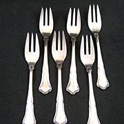 Vintage FRIGAST Anne-Marie Danish Silverplate 3-tine Fish / Salad Forks ~ Set of 6