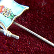 SALE Vintage Sterling Silver Enamel Dwarf Flag Stick Pin