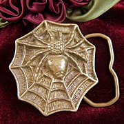 Vintage Solid Brass Spider and Spider Web Belt Buckle