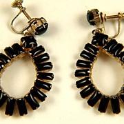 Vintage Black Glass Dangle Screw Back Earrings