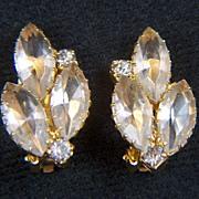 Vintage All Clear Rhinestone Clip Earrings
